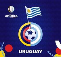 Uruguay wave flag on pole and soccer ball. South America Football 2021 Argentina Colombia vector illustration. Tournament pattern abckground