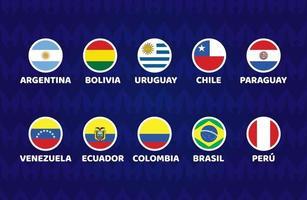 fútbol de américa del sur 2021 argentina colombia ilustración vectorial. Conjunto de torneo de fútbol de bandera de ciclo en América del Sur vector
