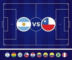 fútbol de américa del sur 2021 argentina colombia ilustración vectorial. equipo nacional versus en el campo de fútbol vector
