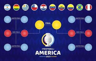 fútbol de américa del sur 2021 argentina colombia ilustración vectorial. Calendario de la etapa final del torneo de fútbol sobre fondo de patrón vector