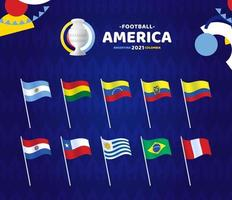 South America Football 2021 Argentina Colombia vector illustration. Set og wave flag on pole with championship logo