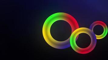 Círculos de néon arco-íris em loop de animação de fundo moderno 3 d