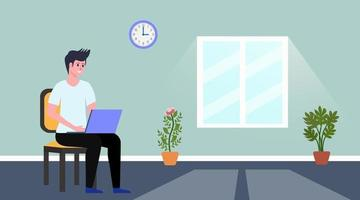 Man Using Laptop at Home While Sitting on Chair vector