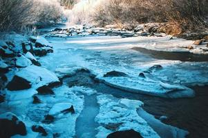 Frozen dark river