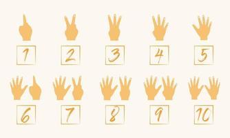 mano contando 1 a 10 ilustración vector