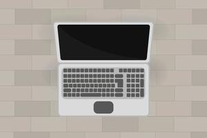 Laptop With Empty Screen Top View vector