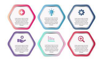 Plantilla de infografía hexagonal degradado con iconos de negocios vector