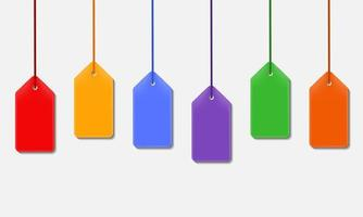Colorful Tag Hanging Set Illustration vector