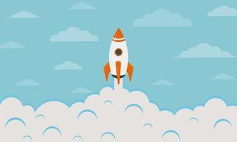 Colorful Flying Rocket Background vector