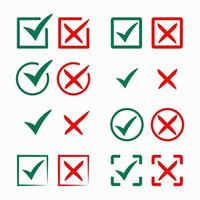 Green Checkmark and Red Cross Collection vector