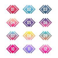 coloridas viñetas geométricas del uno al doce vector