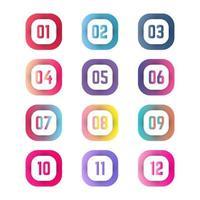 coloridas viñetas cuadradas del uno al doce vector