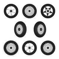 ilustración de juego de ruedas de motocicleta vector