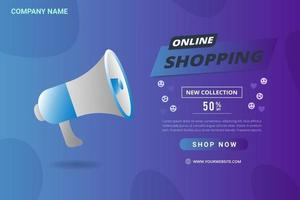 banner web publicitario con megáfono vector