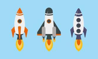 Colorful Rockets Set Illustration vector