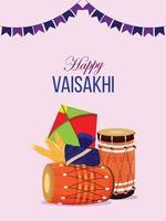 Happy vaisakhi celebration poster or flyer design concept vector