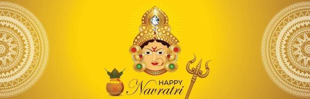 Happy navratri celebration banner or header vector