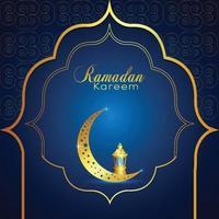 Ramadán kareem fondo islámico con luna dorada y linterna vector