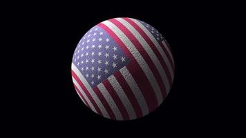 3 d USA Flag Ball Loop Spinning Animation isoliert