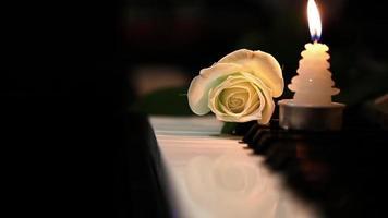 rosa branca e vela nas teclas do piano