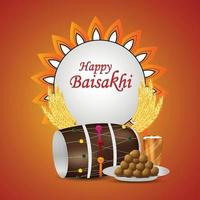 Happy vaisakhi greeting card with drum and sweets vector