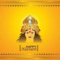 Happy navratri celebration greeting card and background vector