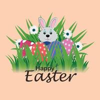 Happy easter day celebration greeting card vector