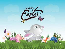 Easter bunny with easter eggs on green background vector
