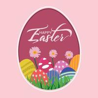 Creative flat design of happy easter background vector