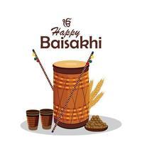 Sikh festival happy vaisakhi celebration background vector