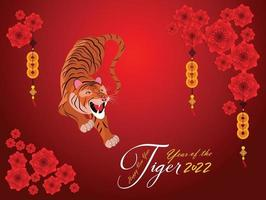 Happy Chinese new year 2022 - year of the Tiger. Lunar New Year banner design template. vector
