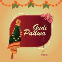 Tarjeta de felicitación de celebración de gudi padwa y fondo con kalash tradicional vector
