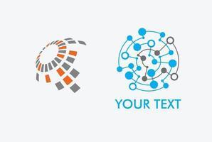 conjunto de logotipos de red global vector