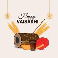 feliz tarjeta de felicitación de vaisakhi y fondo vector
