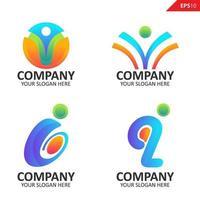 Colección colorida plantilla de diseño de logotipo de letra i inicial vector