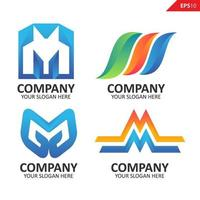 Collection Colorful initial M letter logo design template vector