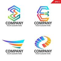 Collection Colorful initial E letter logo design template vector