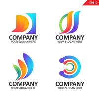Collection Colorful initial D letter logo design template vector