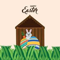 Happy easter greeting card and background vector
