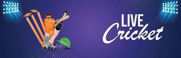 Banner de partido de torneo de cricket con fondo de estadio vector