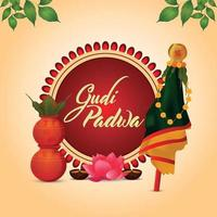 feliz celebración gudi padwa tarjeta de felicitación vector