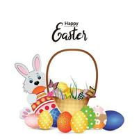 tarjeta de felicitación de pascua feliz con conejito de pascua y huevo vector