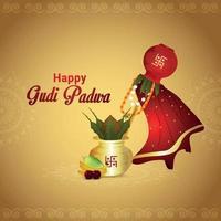 Creative Banner occasion Gudi Padwa Celebration vector