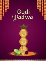 Illustration with decorative background of gudi padwa vector