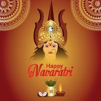 Shubho navratri illustration background with goddess durga vector