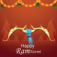 Happy ramnavami celebration greeting card with illustration vector