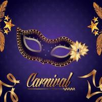 Carnival party flyer or invitation card with creative mask vector