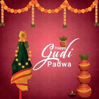 Happy gudi padwa traditional kalash and background vector
