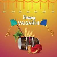Happy vaisakhi celebration greeting card vector