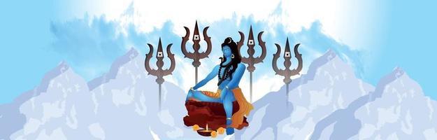 Maha shivratri celebration poster or banner , hindu festival celebration background vector